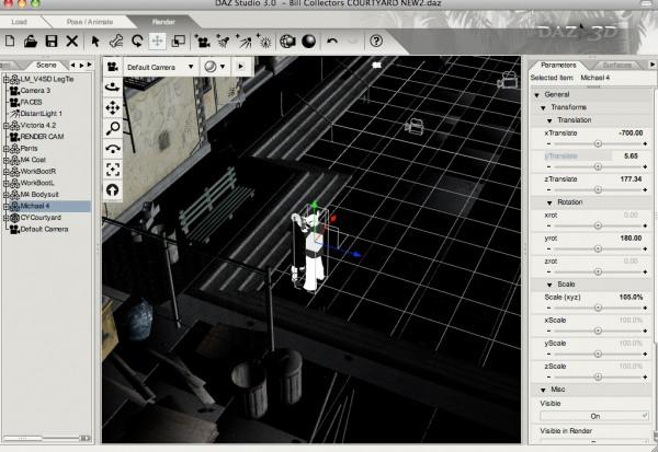 The Courtyard scene from within Daz Studio