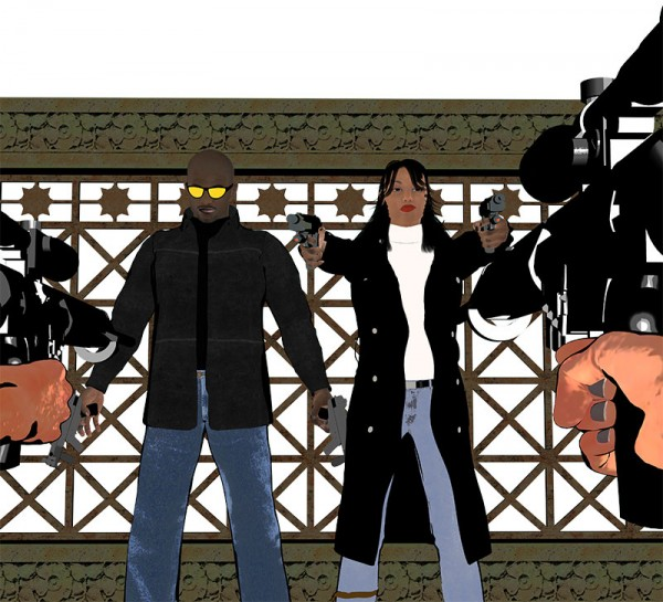 Initial flat render of the Terrace Scene