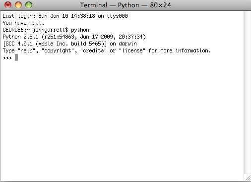 The Terminal, showing the correct version of Python installed.