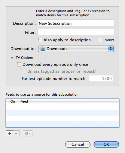 The Automatic New Subscription sceen