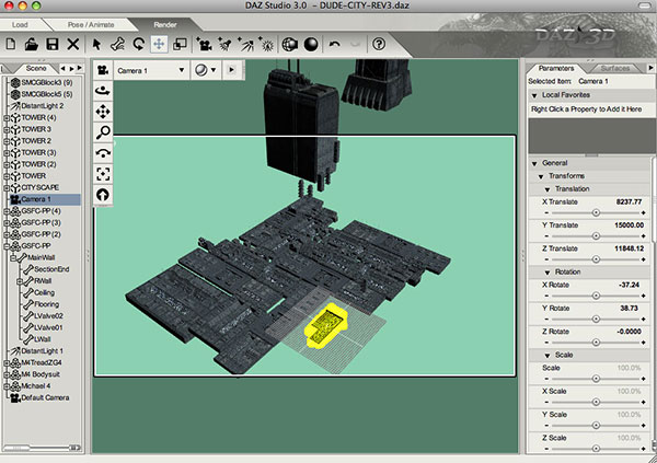 screenshot of Daz Studio showing wasted objects