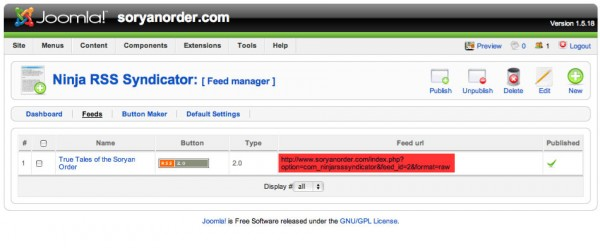 Feed url location in Joomla's Ninja RSS Syndicator