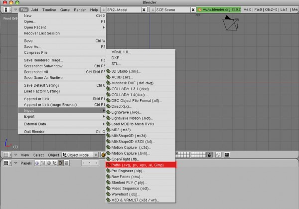 Blender paths import