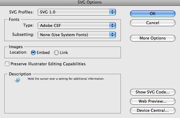 svg options from Adobe Illustrator