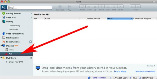the PS3 icon showing in Vuze