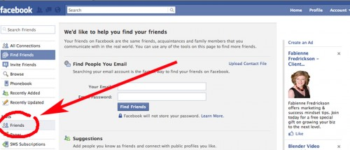 friends link under list heading