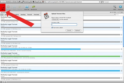 upload a torrent file to the transmission web interface