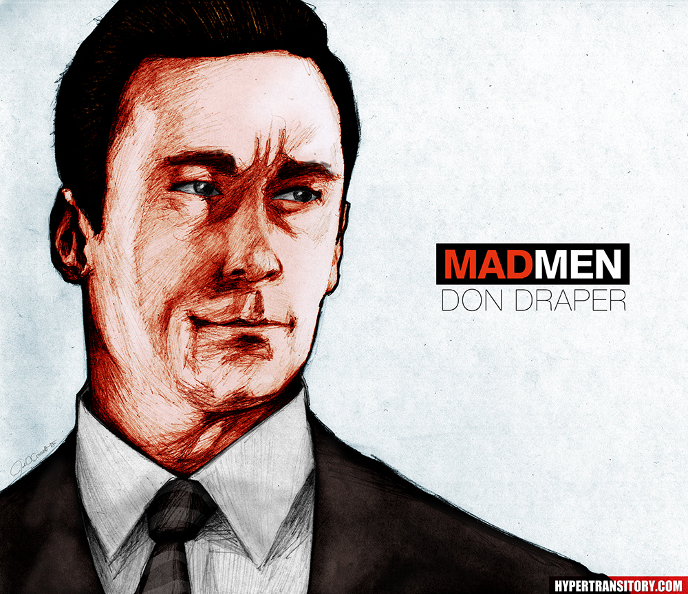 A drawing of Don Draper of Mad Men