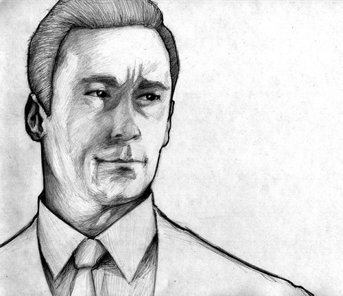 don draper raw pencil drawing