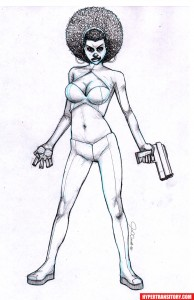 Misty-Knight-pencil art by John Garrett