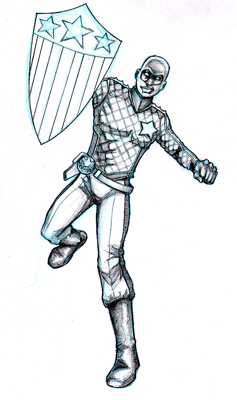 Patriot from the Young Avengers pencil drawing by John Garrett