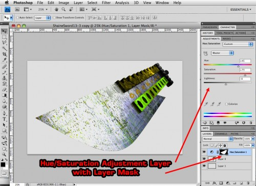 photoshop adjustment layer with layer mask