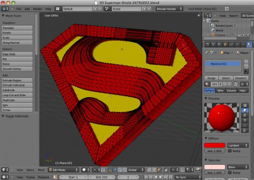 Superman shield modeled in Blender