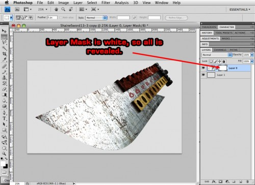 White reveal all layer mask in Photoshop