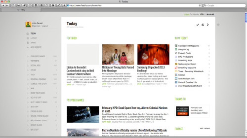The Feedly Homepage for your feeds