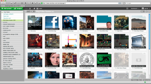 Netvibes *Mosaic* style thumbnail layout
