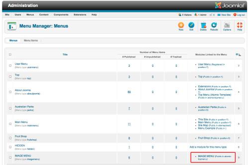 joomla image menu rollovers