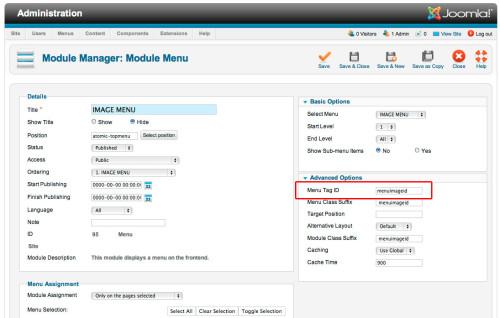 joomla image menu rollover