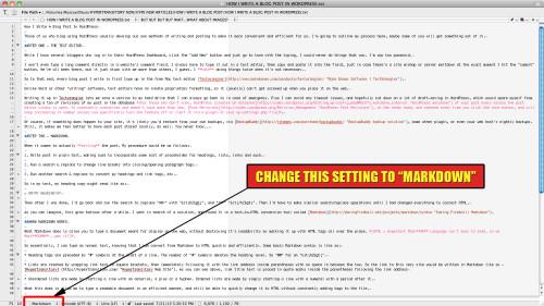 wordpress blog post markdown in textwrangler