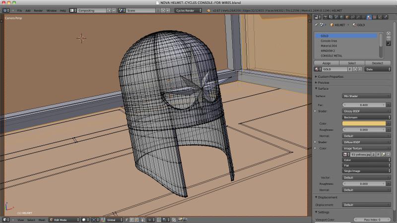 Wireframe of Nova Helmet modeled in Blender