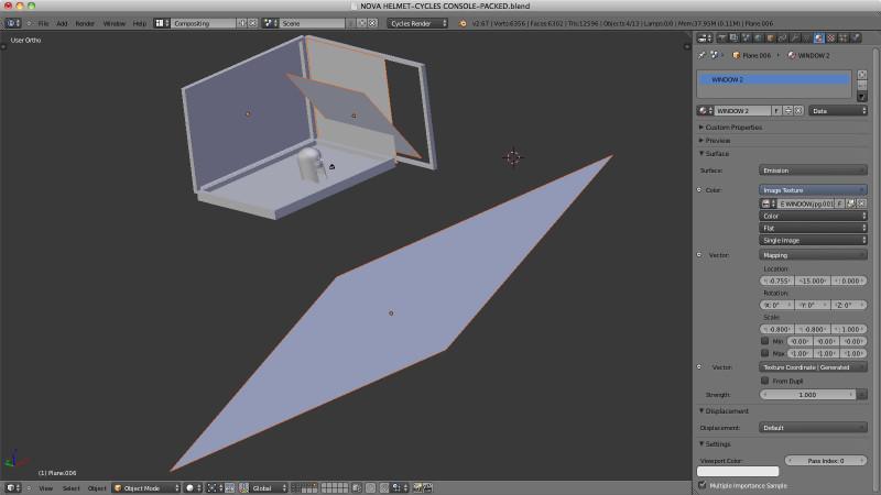 Screenshot of Nova Helmet scene in Blender