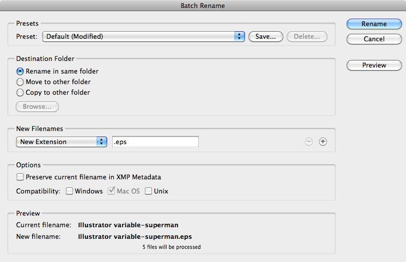 Adobe Illustrator variable Data rename extension