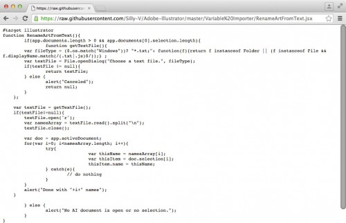 Raw code of the RenameArtFromText script in the browser.