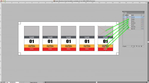 Each variable element of the design is on it's own layer in Illustrator.