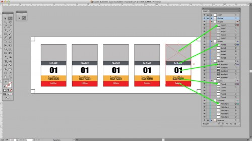 The rightmost objects are appearing on top of the stacking order in Illustrator.
