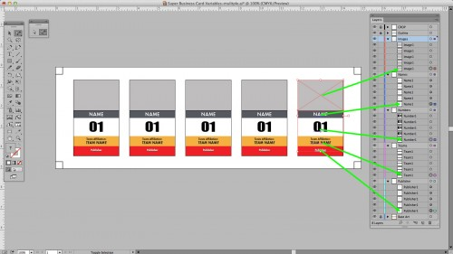 Now the rightmost objects are appearing at the bottom of the stacking order in Illustrator.
