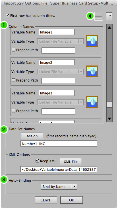 The main screen of version 7 of the Variable Importer script.